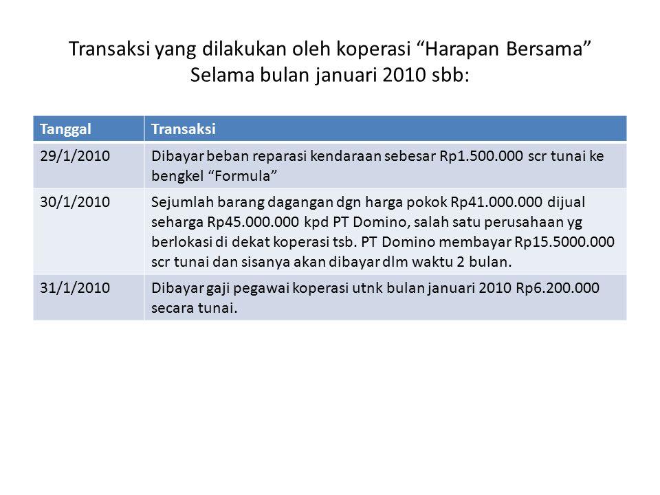 Transaksi yang dilakukan oleh koperasi Harapan Bersama Selama bulan januari 2010 sbb: