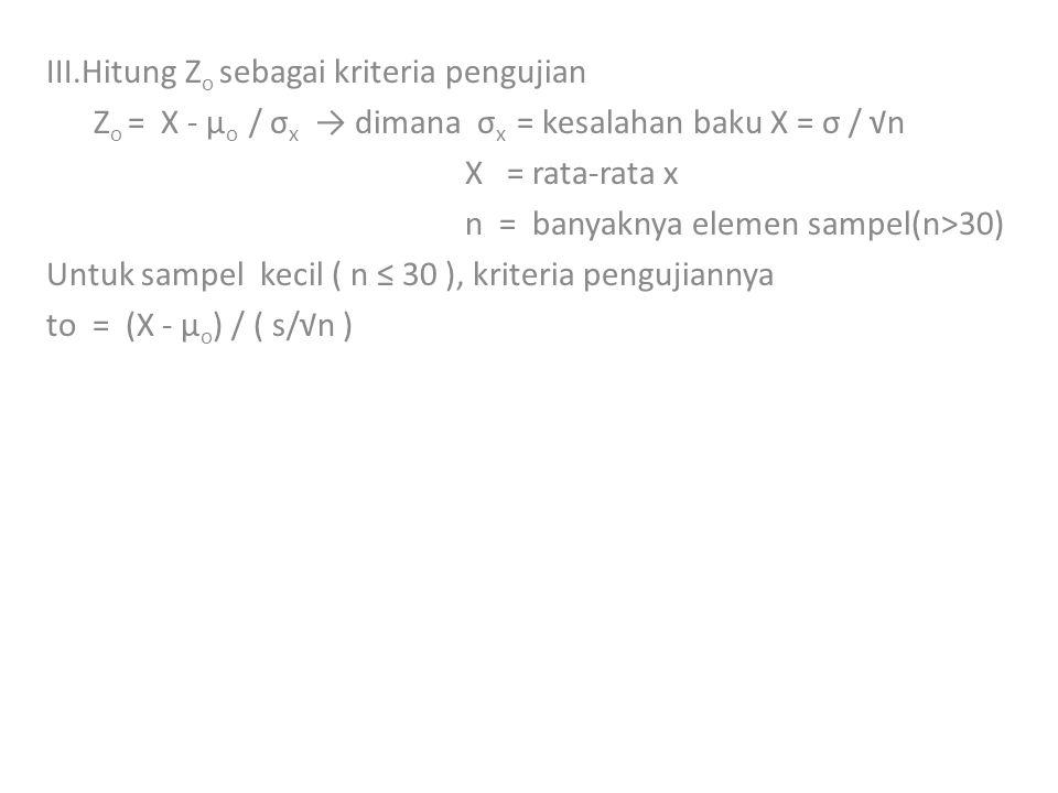III.Hitung Zo sebagai kriteria pengujian