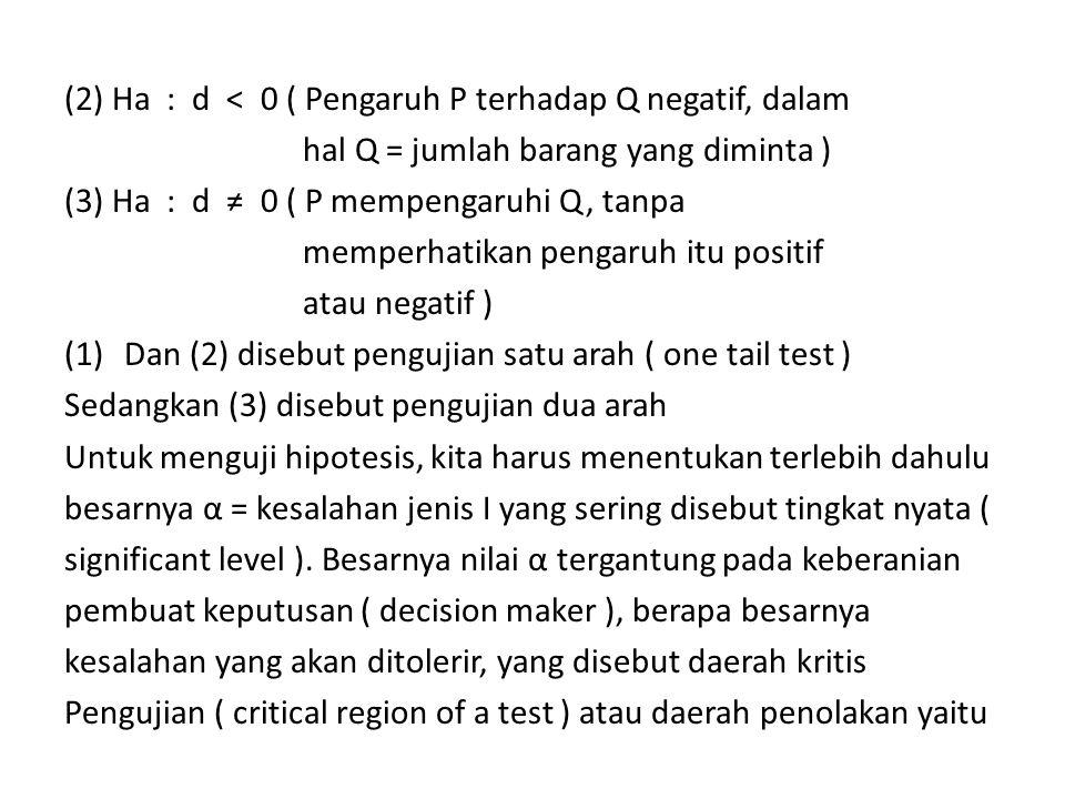(2) Ha : d < 0 ( Pengaruh P terhadap Q negatif, dalam