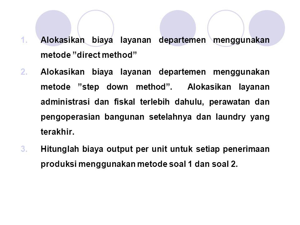 Alokasikan biaya layanan departemen menggunakan metode direct method