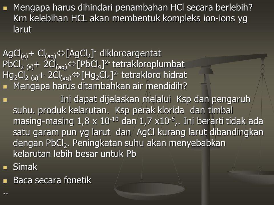Mengapa harus dihindari penambahan HCl secara berlebih