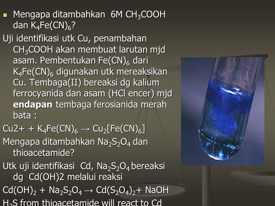 Mengapa ditambahkan 6M CH3COOH dan K4Fe(CN)6