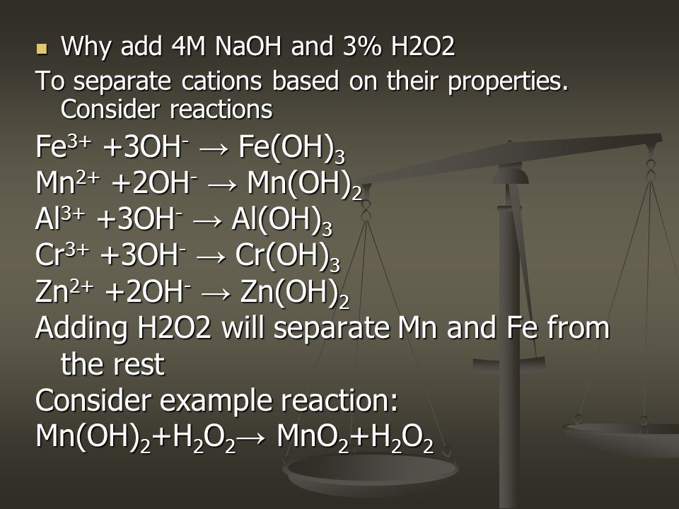 Adding H2O2 will separate Mn and Fe from the rest