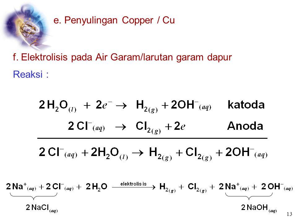 e. Penyulingan Copper / Cu