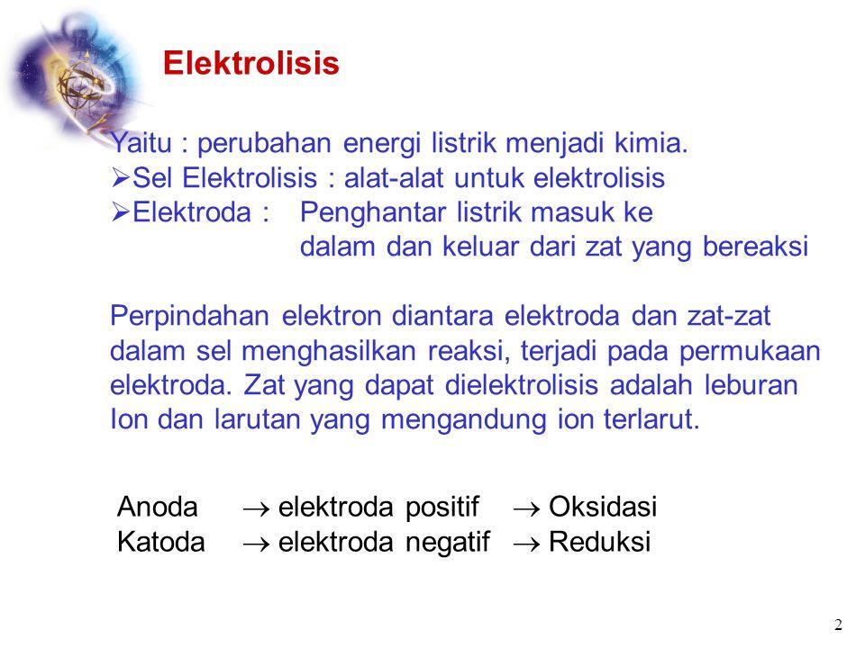 Elektrolisis Yaitu : perubahan energi listrik menjadi kimia.