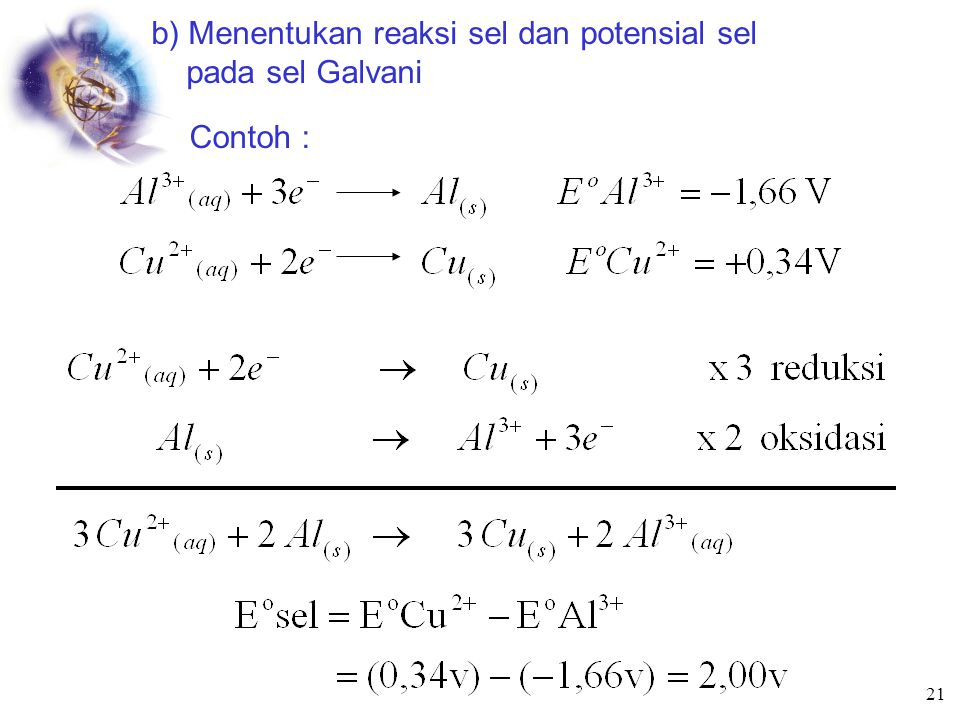 b) Menentukan reaksi sel dan potensial sel pada sel Galvani