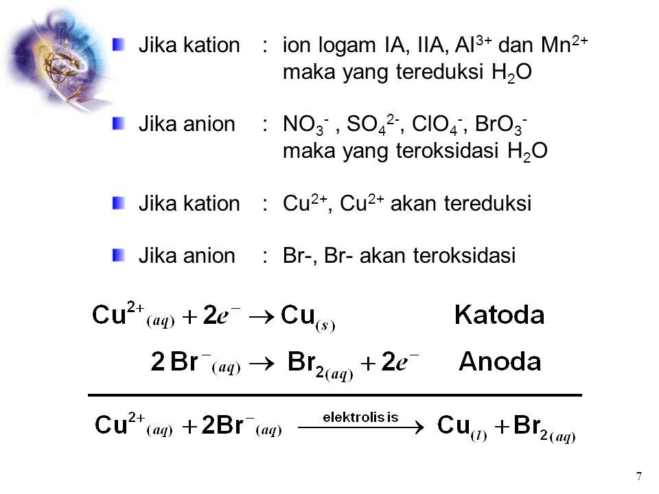 Jika kation : ion logam IA, IIA, AI3+ dan Mn2+ maka yang tereduksi H2O