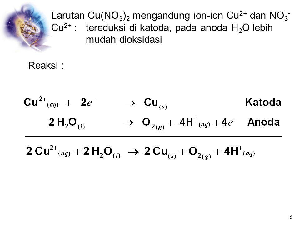 Larutan Cu(NO3)2 mengandung ion-ion Cu2+ dan NO3-