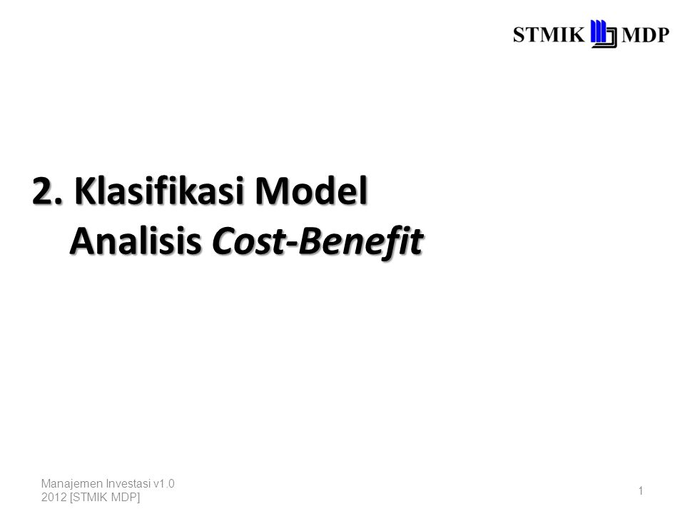 2. Klasifikasi Model Analisis Cost-Benefit