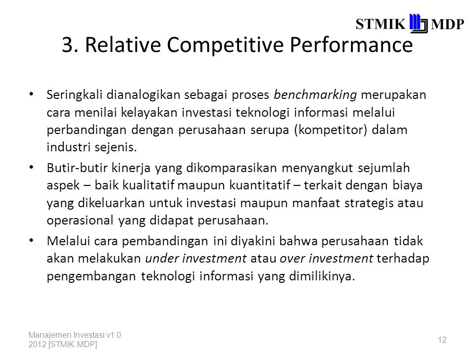 3. Relative Competitive Performance