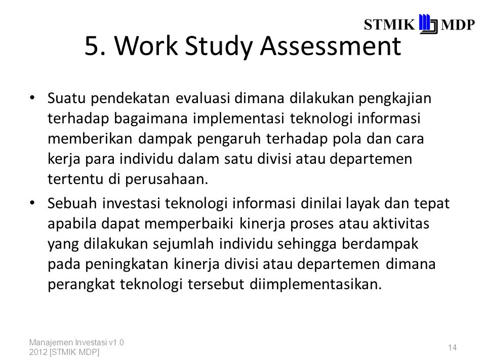 5. Work Study Assessment