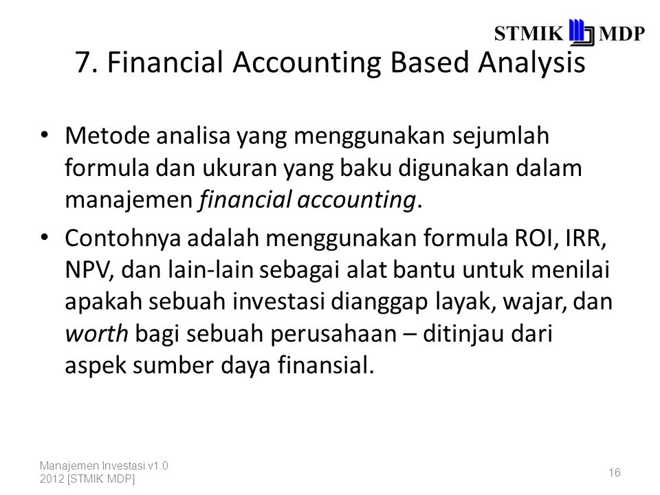 7. Financial Accounting Based Analysis