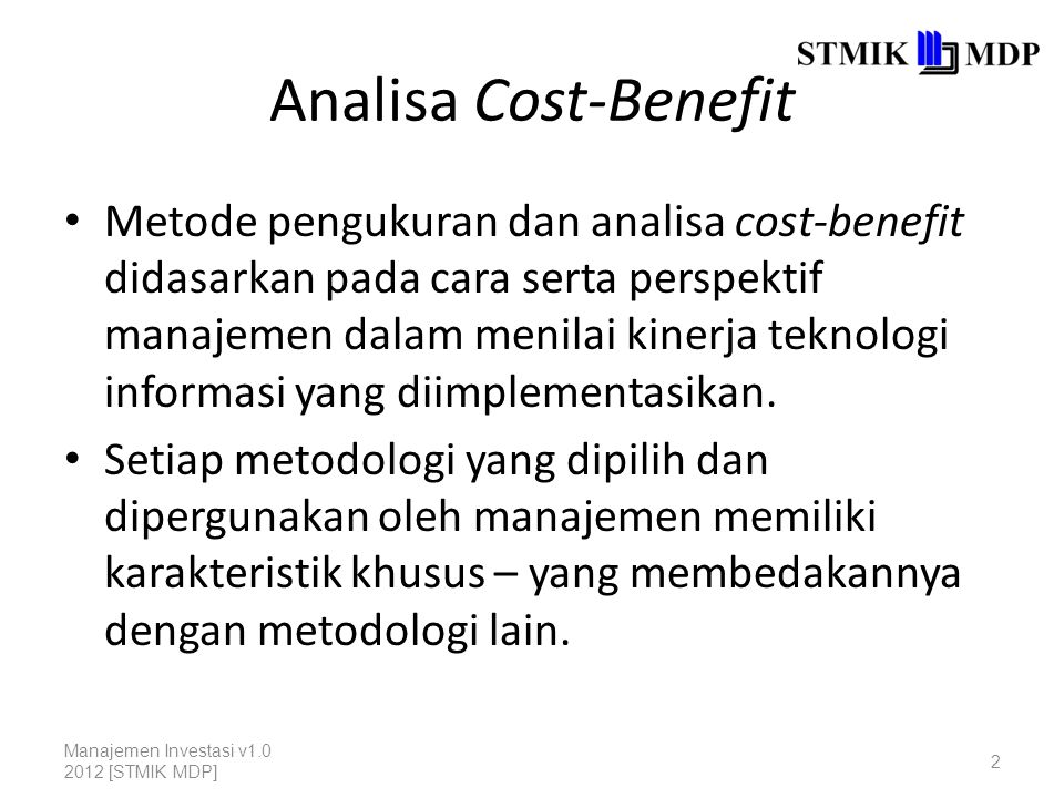 Analisa Cost-Benefit