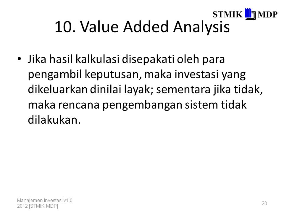 10. Value Added Analysis