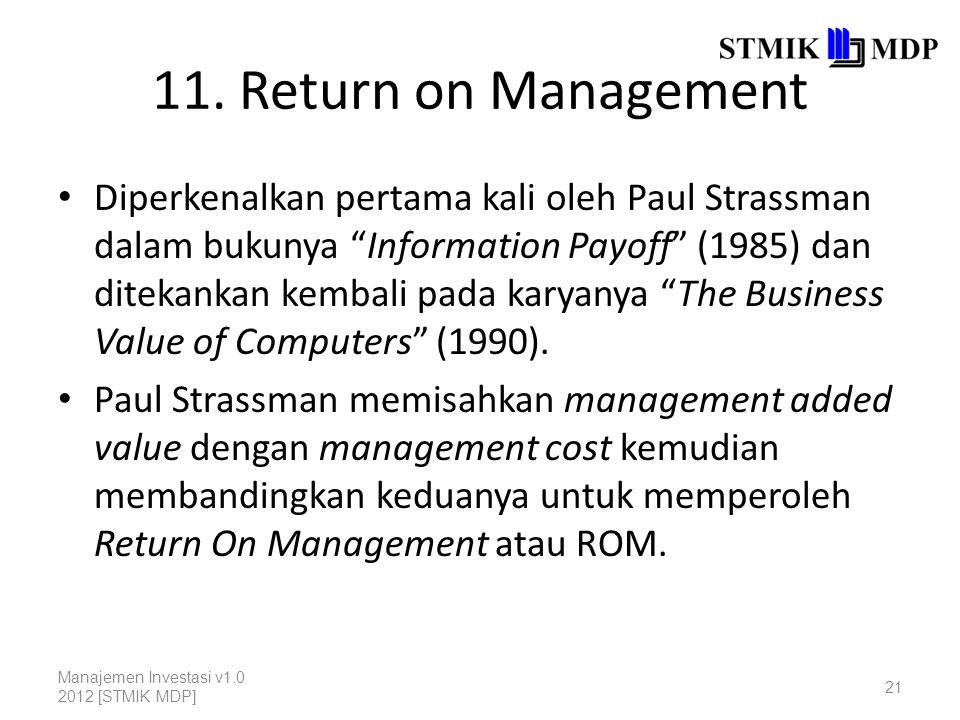 11. Return on Management