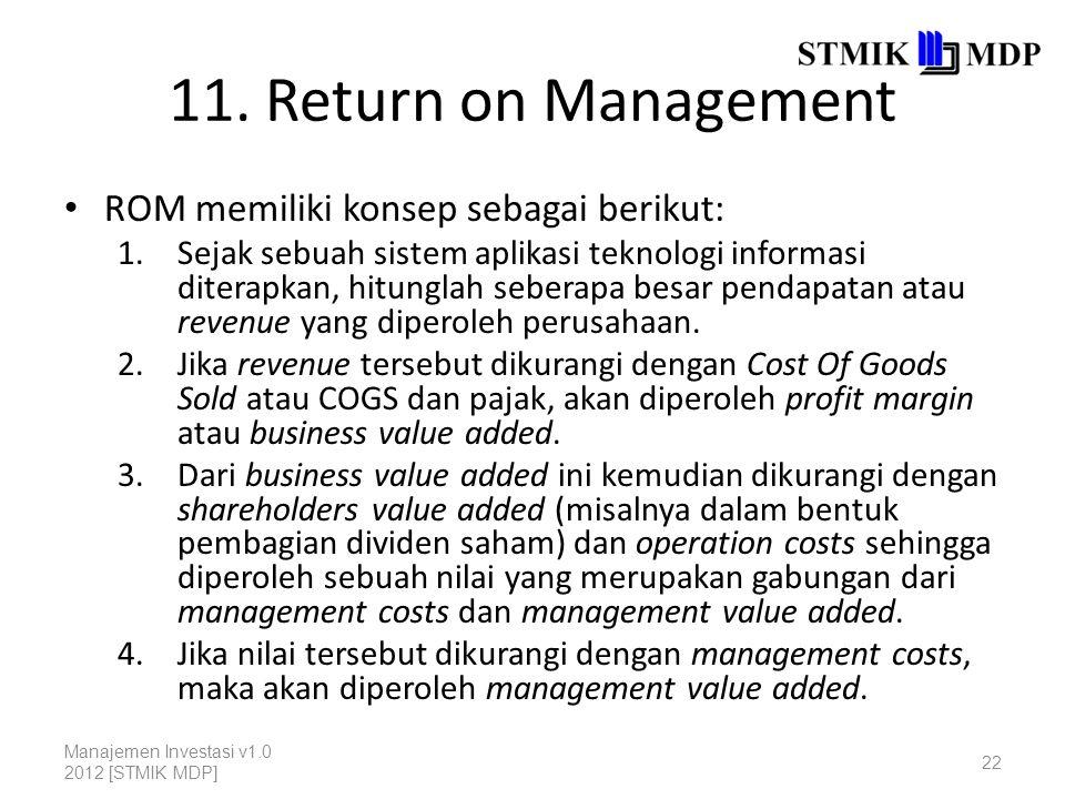 11. Return on Management ROM memiliki konsep sebagai berikut: