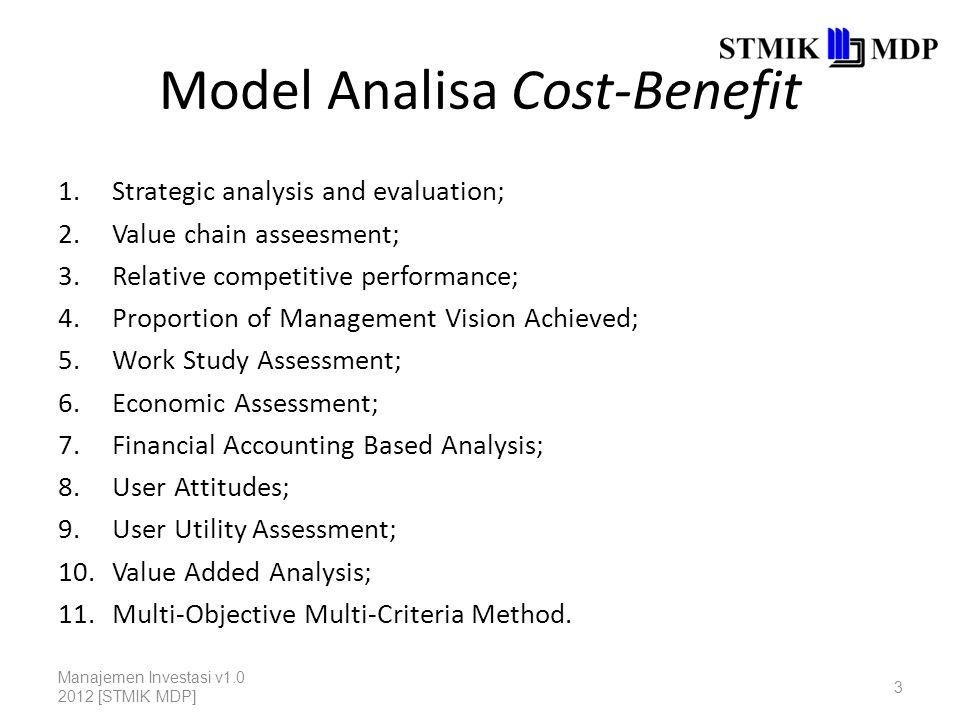 Model Analisa Cost-Benefit