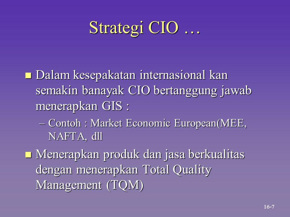 Strategi CIO … Dalam kesepakatan internasional kan semakin banayak CIO bertanggung jawab menerapkan GIS :