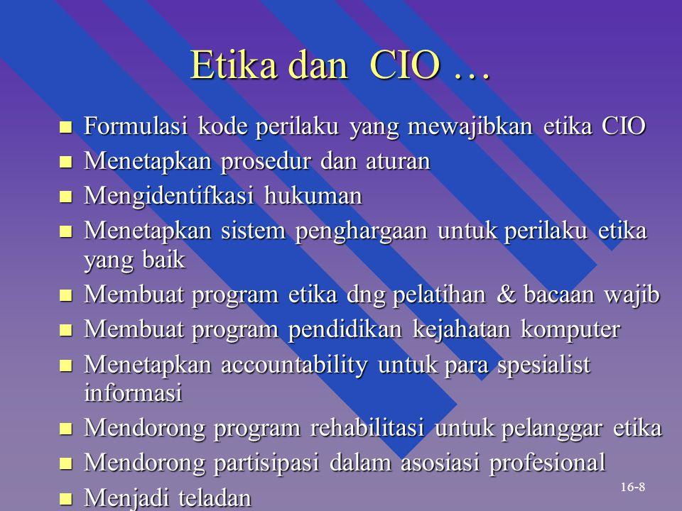Etika dan CIO … Formulasi kode perilaku yang mewajibkan etika CIO