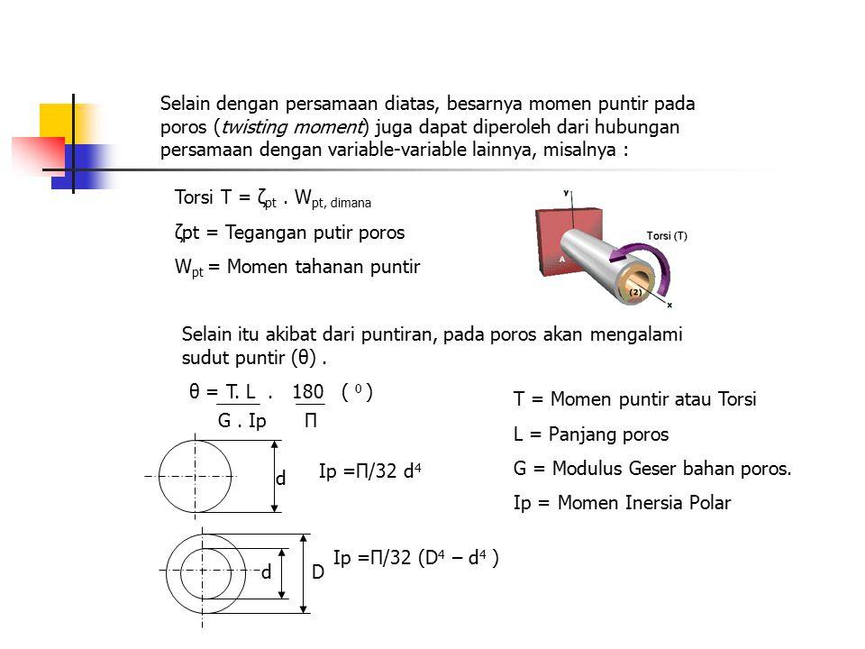 Selain dengan persamaan diatas, besarnya momen puntir pada poros (twisting moment) juga dapat diperoleh dari hubungan persamaan dengan variable-variable lainnya, misalnya :