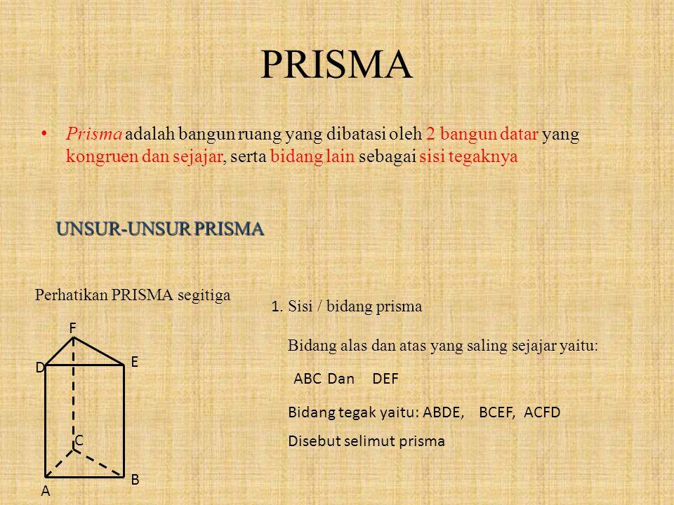 PRISMA Prisma adalah bangun ruang yang dibatasi oleh 2 bangun datar yang kongruen dan sejajar, serta bidang lain sebagai sisi tegaknya.