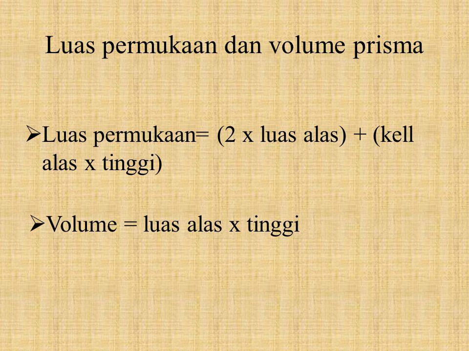 Luas permukaan dan volume prisma