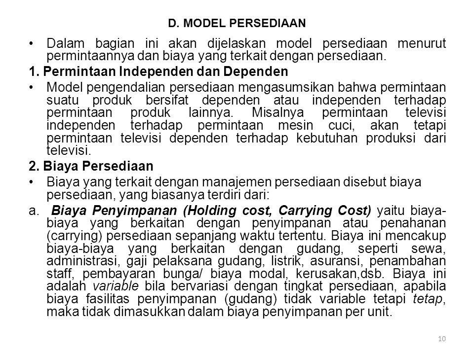1. Permintaan Independen dan Dependen