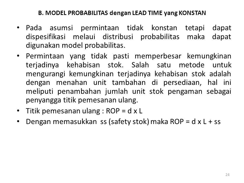 B. MODEL PROBABILITAS dengan LEAD TIME yang KONSTAN
