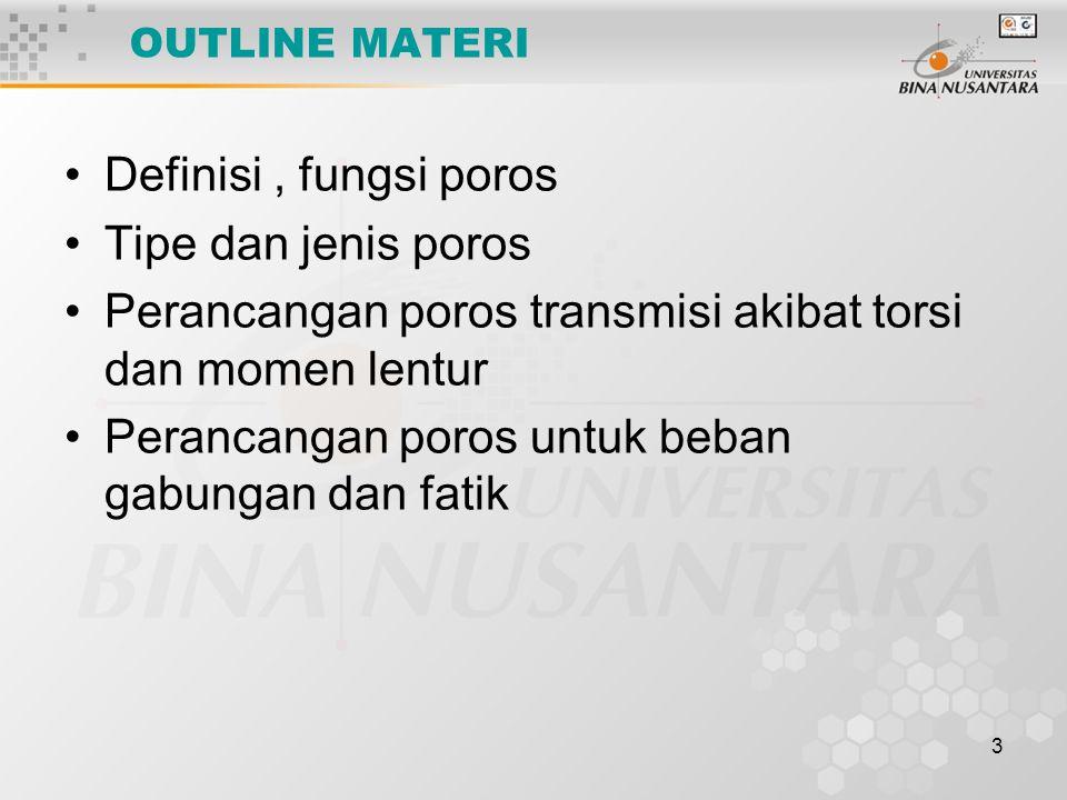 Perancangan poros transmisi akibat torsi dan momen lentur