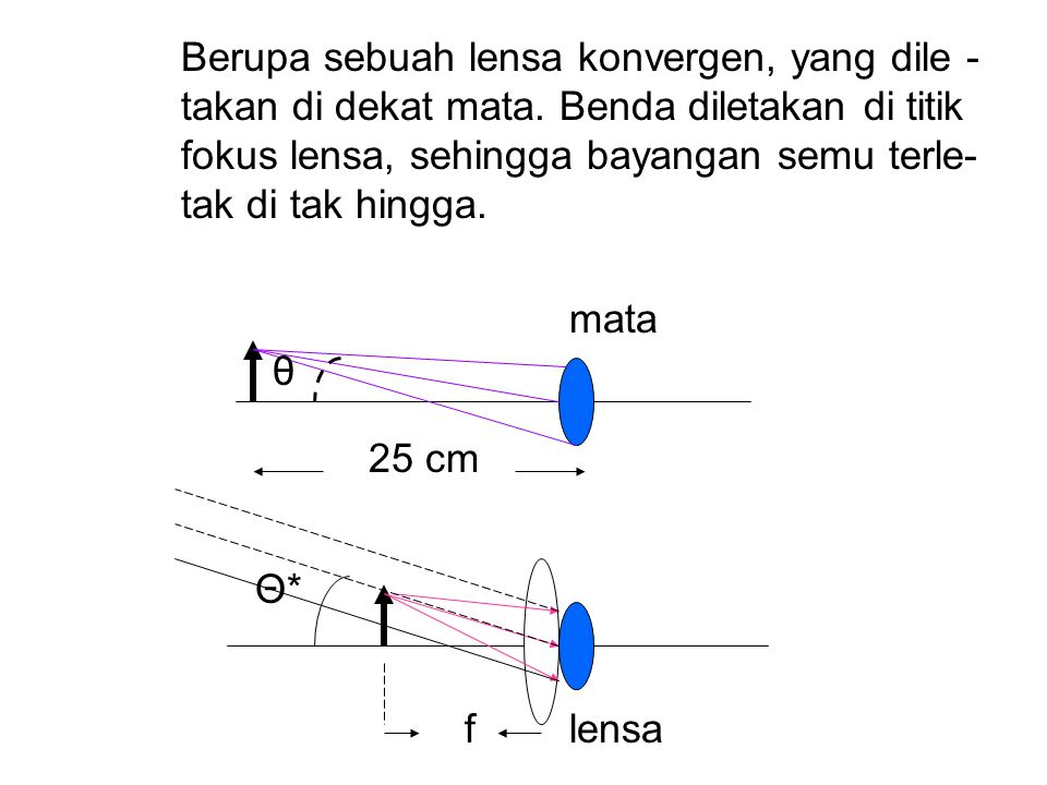 Berupa sebuah lensa konvergen, yang dile -. takan di dekat mata