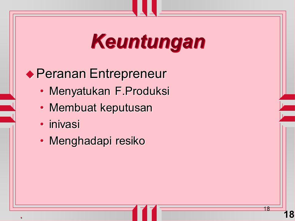 Keuntungan Peranan Entrepreneur Menyatukan F.Produksi
