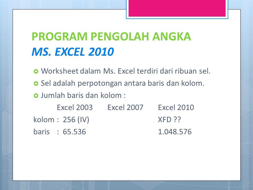 PROGRAM PENGOLAH ANGKA MS. EXCEL 2010