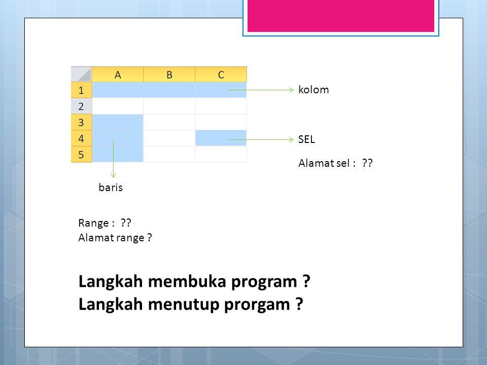 Langkah membuka program Langkah menutup prorgam