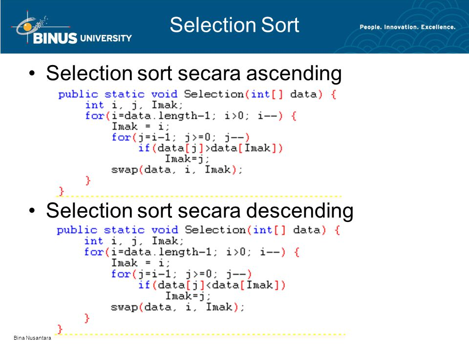Selection sort secara ascending