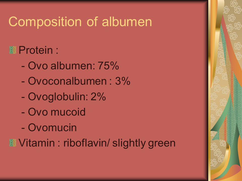 Composition of albumen