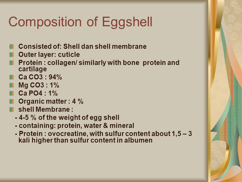 Composition of Eggshell