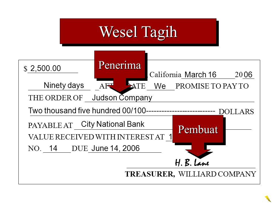 Wesel Tagih Penerima Pembuat H. B. Lane $_____________ 2,500.00