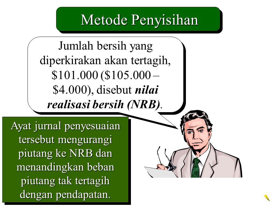 Metode Penyisihan Jumlah bersih yang diperkirakan akan tertagih, $101.000 ($105.000 – $4.000), disebut nilai realisasi bersih (NRB).