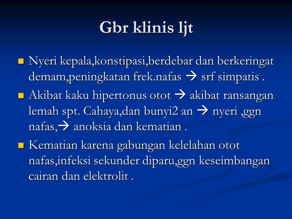 Gbr klinis ljt Nyeri kepala,konstipasi,berdebar dan berkeringat demam,peningkatan frek.nafas  srf simpatis .