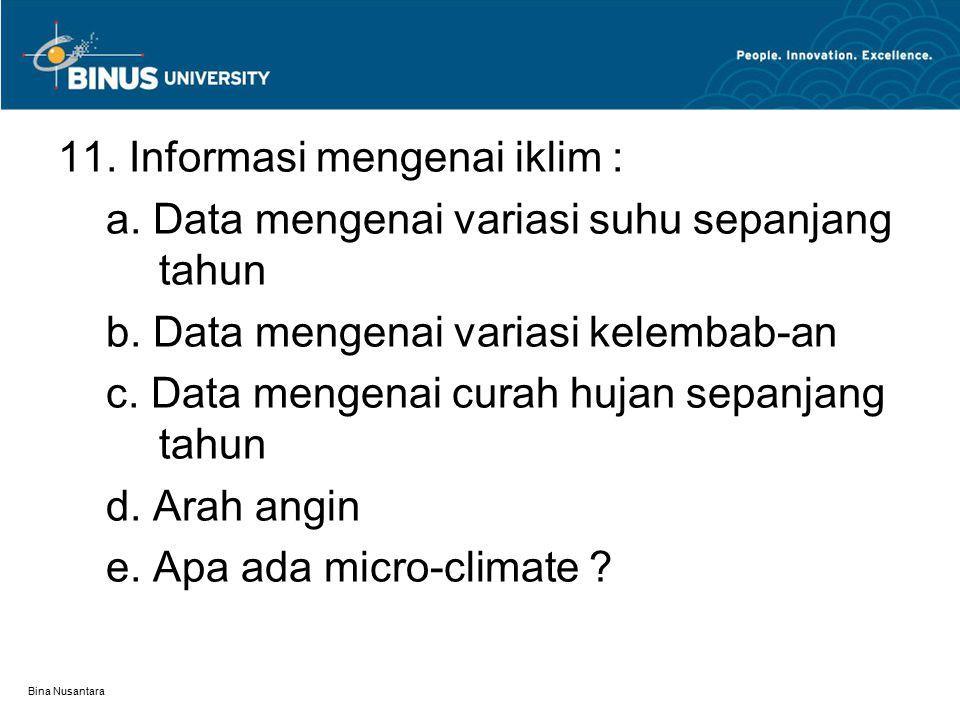 11. Informasi mengenai iklim :