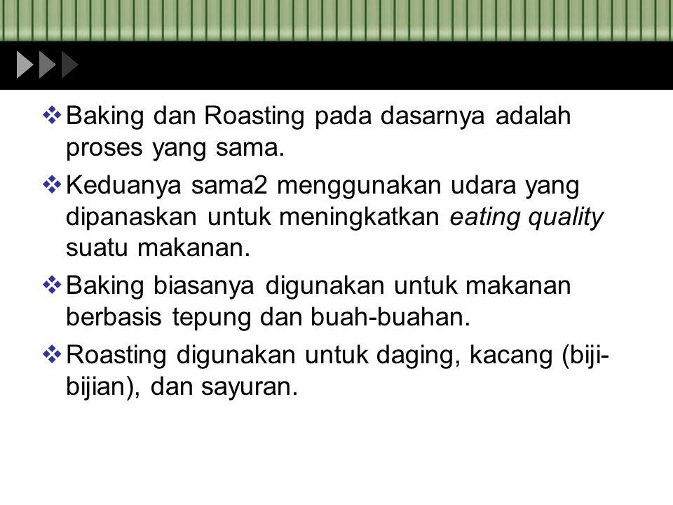 Baking dan Roasting pada dasarnya adalah proses yang sama.