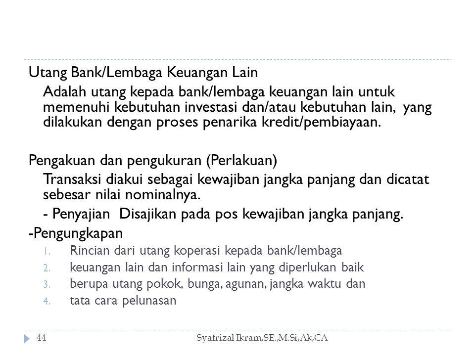 Utang Bank/Lembaga Keuangan Lain