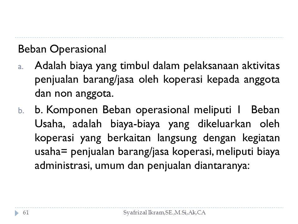 Beban Operasional Adalah biaya yang timbul dalam pelaksanaan aktivitas penjualan barang/jasa oleh koperasi kepada anggota dan non anggota.