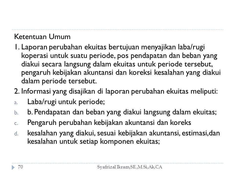 2. Informasi yang disajikan di laporan perubahan ekuitas meliputi:
