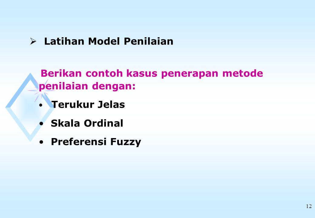 Latihan Model Penilaian