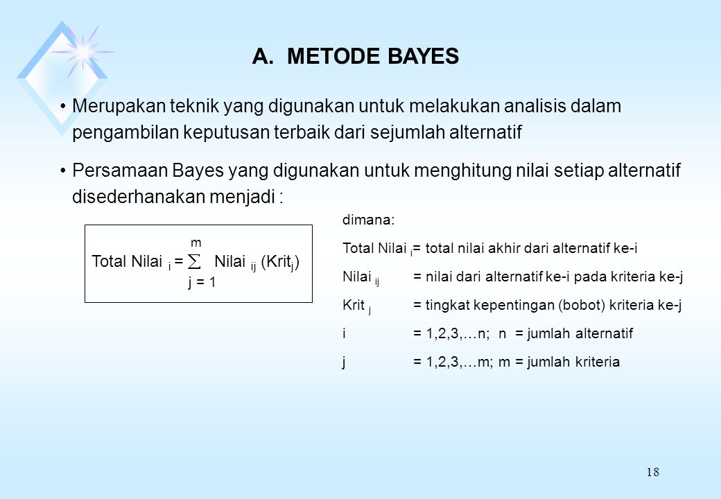 A. METODE BAYES Merupakan teknik yang digunakan untuk melakukan analisis dalam pengambilan keputusan terbaik dari sejumlah alternatif.