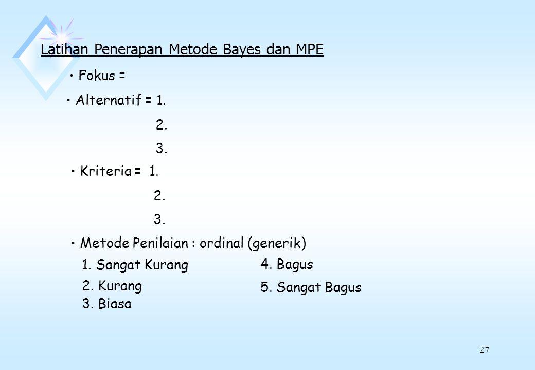 Latihan Penerapan Metode Bayes dan MPE