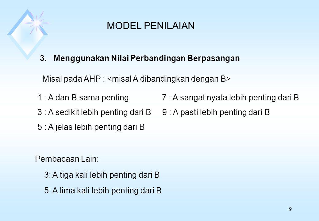MODEL PENILAIAN 3. Menggunakan Nilai Perbandingan Berpasangan