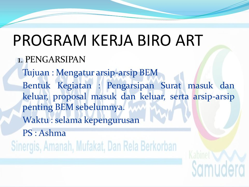 PROGRAM KERJA BIRO ART