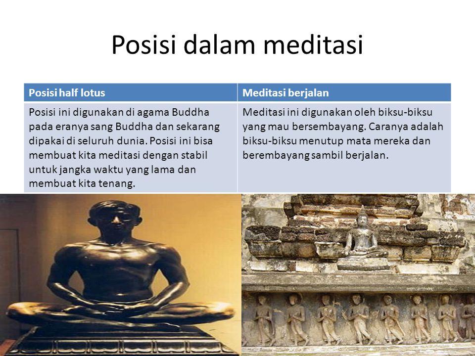 Posisi dalam meditasi Posisi half lotus Meditasi berjalan